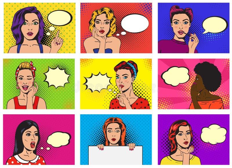 Blasensprache- oder comicgirl Illustrationsfrausatz des komischen Frauenvektor popart Karikaturmädchencharakters sprechender von vektor abbildung