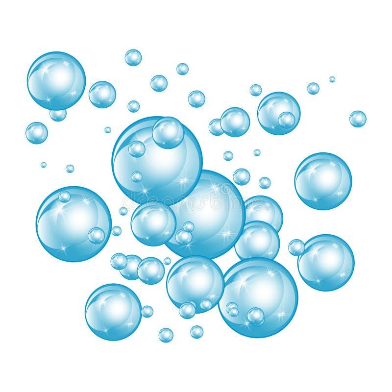 Blasenunterwasserbeschaffenheit lokalisiert auf weißem Hintergrund Sprudelnde Scheine im Wasser, Meer, Ozean Unterseeische Abbild lizenzfreie stockfotos
