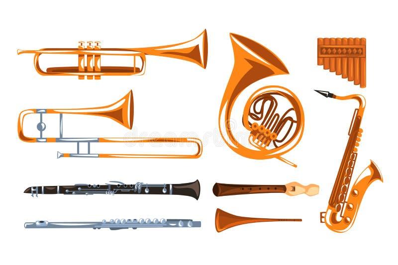 Blasinstrumente stellten, Saxophon, Klarinette, Trompete, Posaune, Tuba, Wannenflöten-Vektor Illustrationen I auf einem Weiß ein vektor abbildung