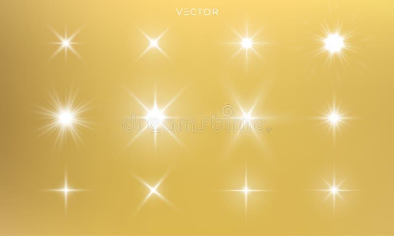 Blask gwiazdy, iskra złotego światła, błyszczące wektory złote z efektem rozbłysku soczewki. Oddzielony błysk słoneczny i ilustracji