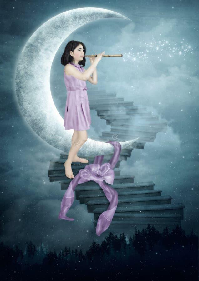 Chłopiec Dmuchanie Gulgocze, Planety, Gwiazdy Ilustracji - Ilustracja  złożonej z niebo, spiritual: 89551214
