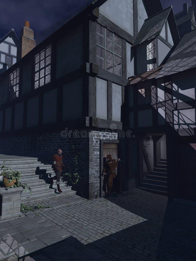 Blasku księżyca przyczajenie w Średniowiecznej ulicie ilustracja wektor