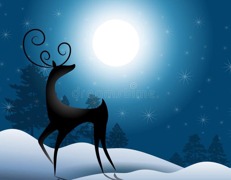 Blasku Księżyca Renifera Pozycja Fotografia Royalty Free