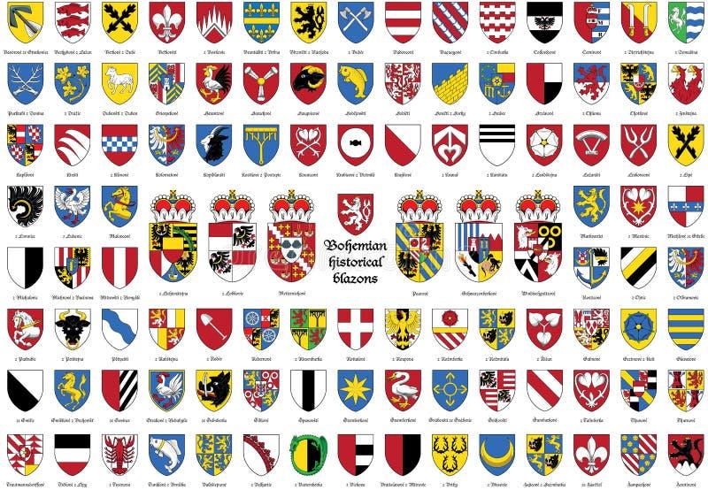 Blasones históricos bohemios, escudo de armas de los checos, ilustración del vector