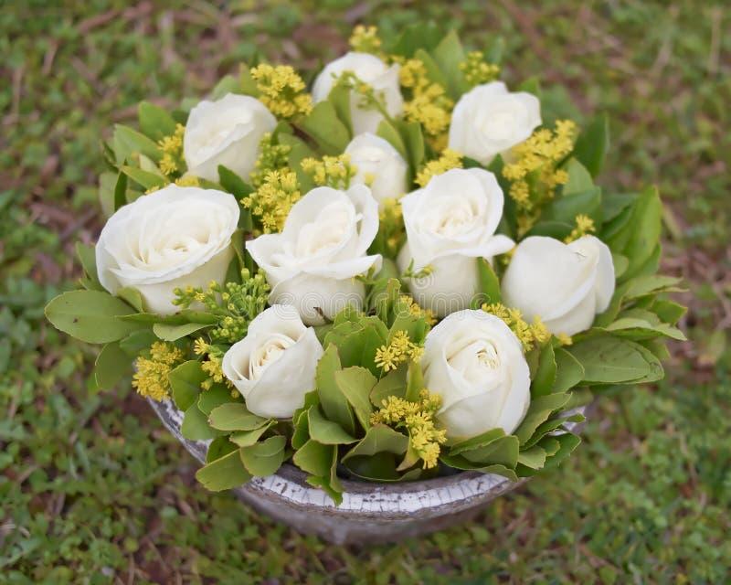 Blasse Weißrose blüht Blumenstraußnahaufnahme stockfotos