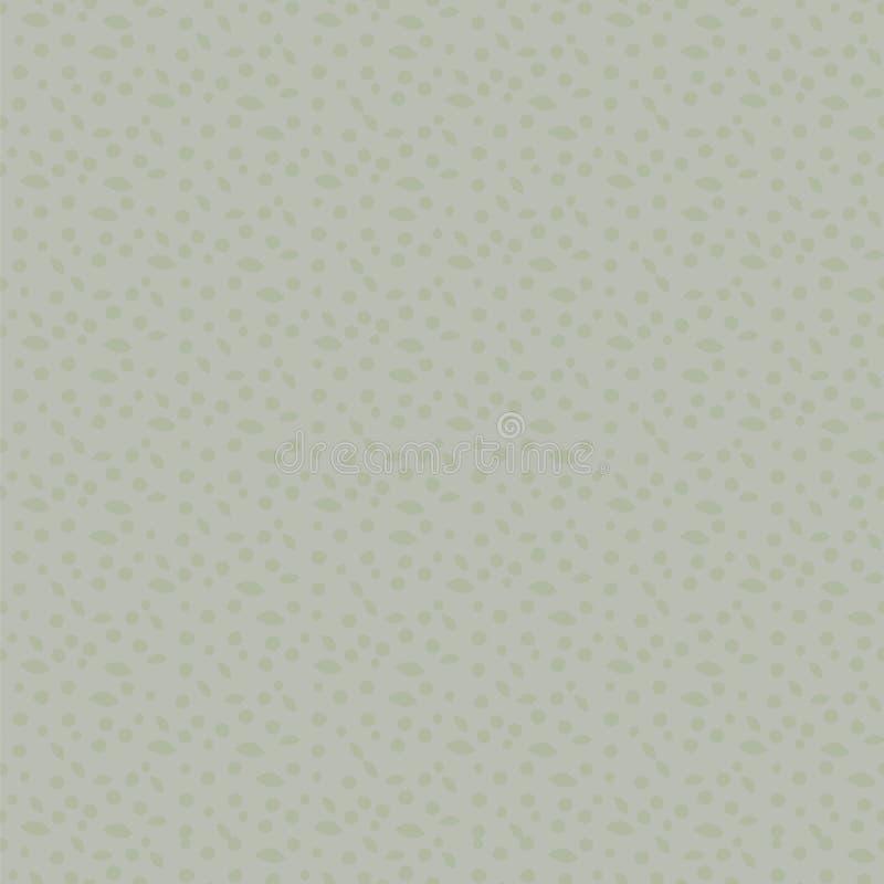 Blasser er-grün Farblichthintergrund mit Entwürfen von Blättern und von einfachem gemachtem Vektor der ungleichen Punkte nahtlose stock abbildung