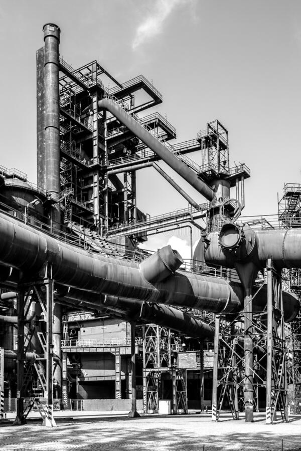 Blast furnace in metallurgical area of Dolni Vitkovice, Ostrava, Czech Republic. Black and white image royalty free stock photos