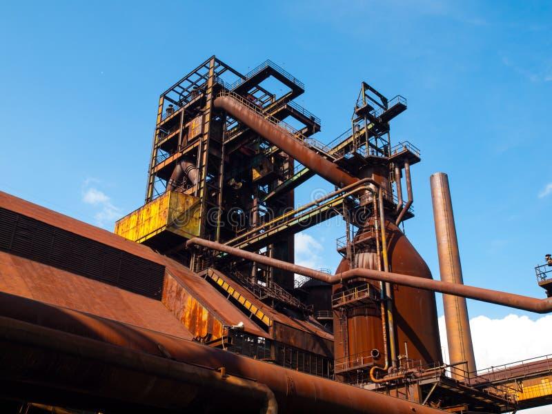 Blast furnace in steel factory stock photo