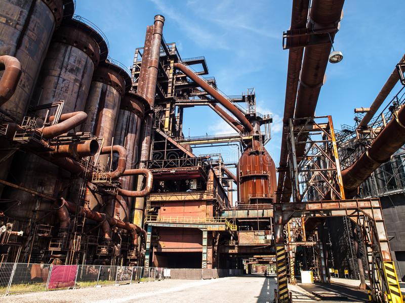 Blast Furnace Construction : Blast furnace in steel factory stock photo image