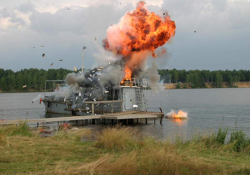 Download The blast on the ship stock image. Image of bonfire, flame - 36533791