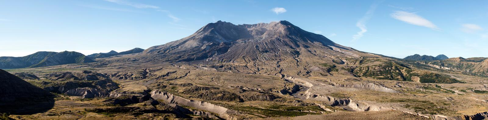 Wide blast-zone of Mount Saint Helens volcano. The blast zone of Mount Saint Helens volcano, Washington, USA, a barren and wiped out landscape stock photo