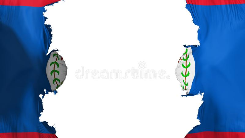 Blasted Belize flag. Against white background, 3d rendering vector illustration