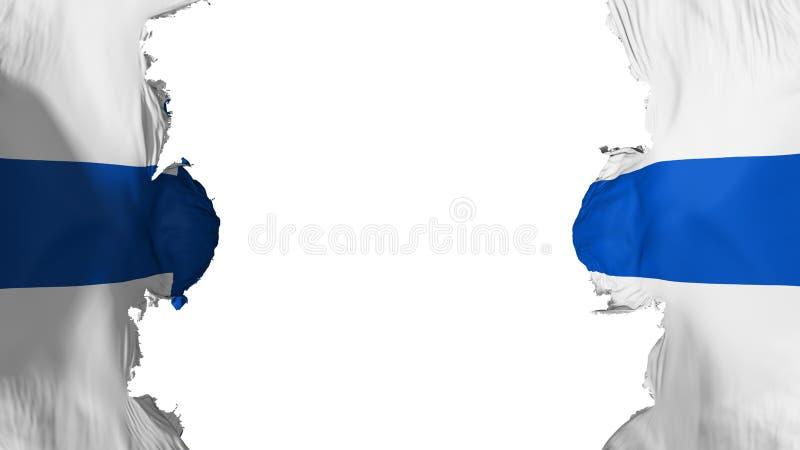 Blasted Finland flag. Against white background, 3d rendering royalty free illustration