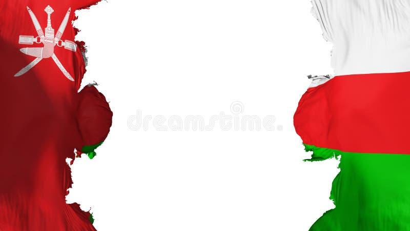 Blasted Oman flag. Against white background, 3d rendering royalty free illustration
