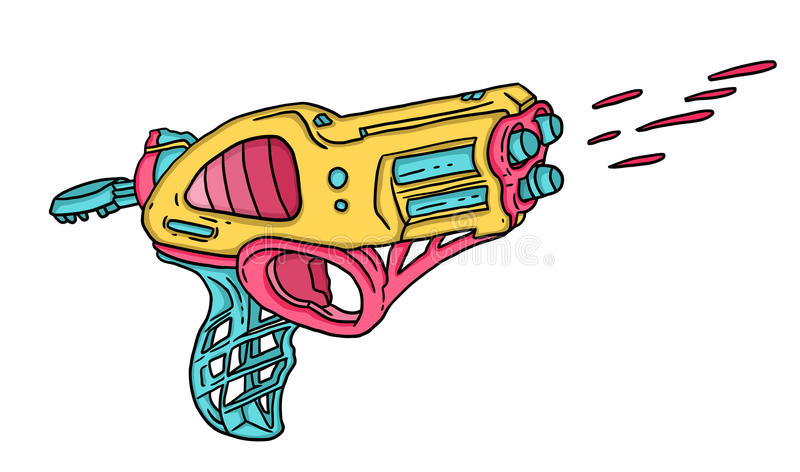 Blaster. Comic yellow pink-colored space blaster royalty free illustration