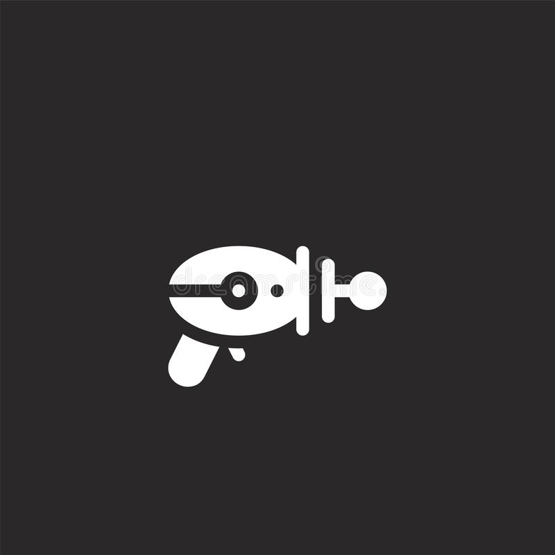 Blaster icon. Filled blaster icon for website design and mobile, app development. blaster icon from filled nerd collection. Isolated on black background vector illustration