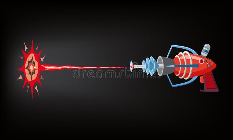 Blaster, laser, gan lek, skottstråle och exponering, vektorillustration, tecknad filmkontur, rött, blått som är mörk, för lekar,  royaltyfri illustrationer