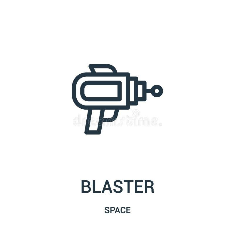 blastersymbolsvektor från utrymmesamling Tunn linje illustration för vektor för blasteröversiktssymbol royaltyfri illustrationer