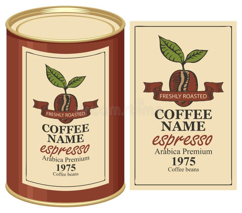 Blaszana puszka z etykietką dla kawowych fasoli ilustracji
