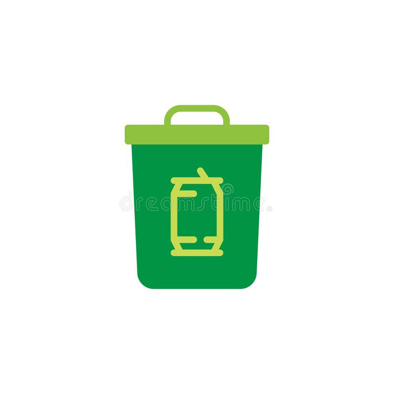 Blaszanej puszki kosza na śmieci mieszkania ikona royalty ilustracja