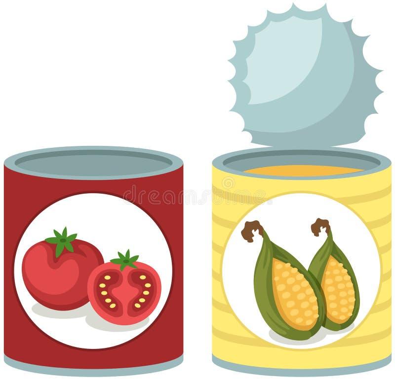 Blaszanej puszki pomidor i kukurudzy polewka royalty ilustracja