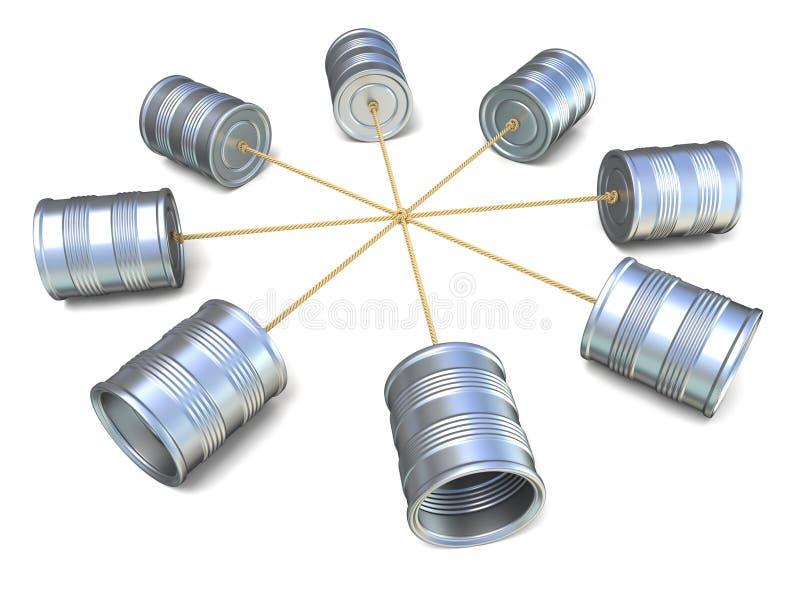 Blaszanej puszki telefony łączący each inny 3 d czynią ilustracji