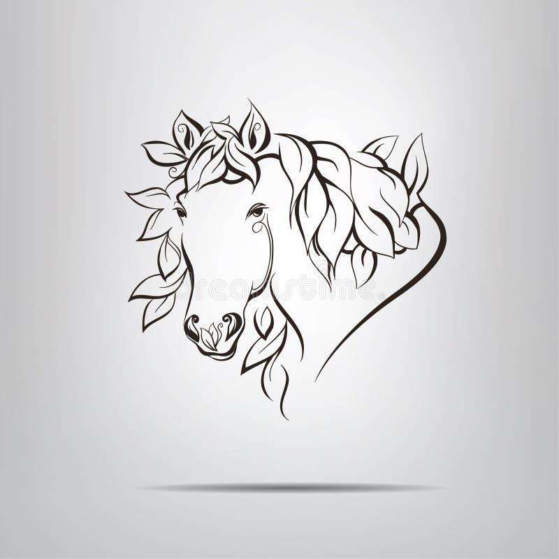 Blaszkowa sylwetka kierowniczy koń ilustracja wektor