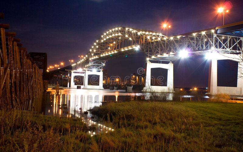 The Blatnik Bridge (night) royalty free stock image