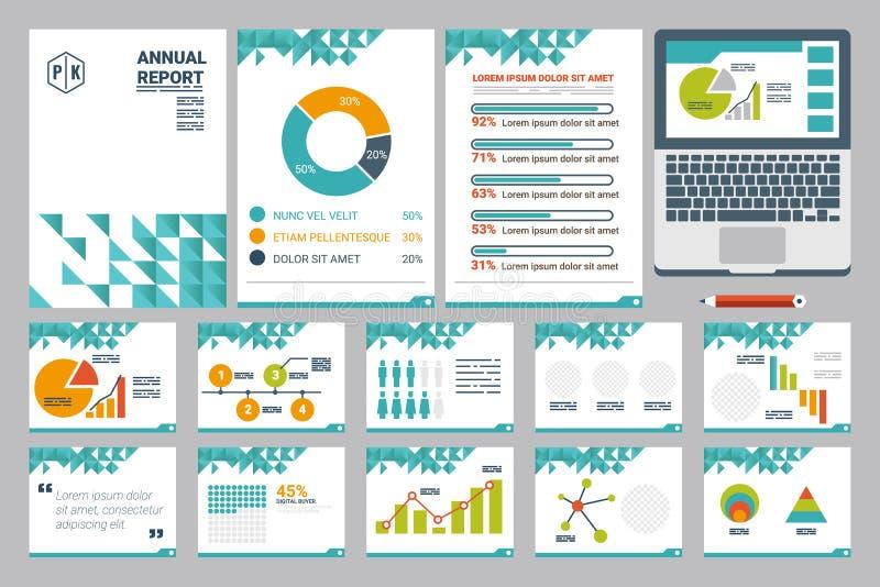 Blatt der Jahresberichtabdeckung A4 und Darstellungsschablone lizenzfreie abbildung