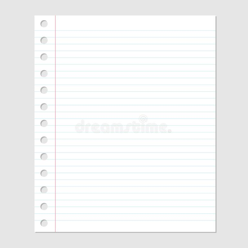 Blatt des leeren Papiers mit Linien und Lochvektorillustration vektor abbildung