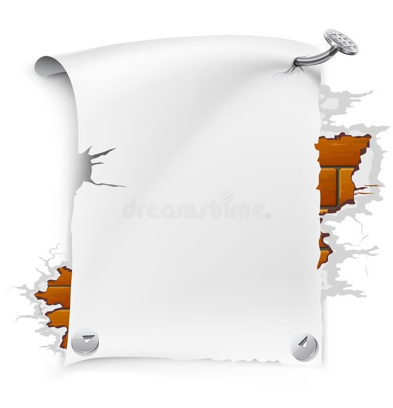 Blatt des vektorunbelegten Papiers mit Nagel vektor abbildung