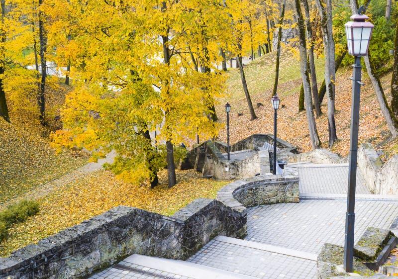 Blatt-Fall in historischen Park, Cesis, Lettland stockfotos