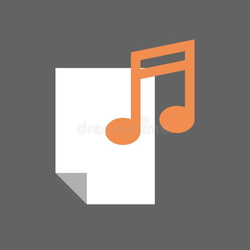 Blatt mit Anmerkungs-musikalischem Zeichen-Ikonen-Musik-Datei-Konzept lizenzfreie abbildung