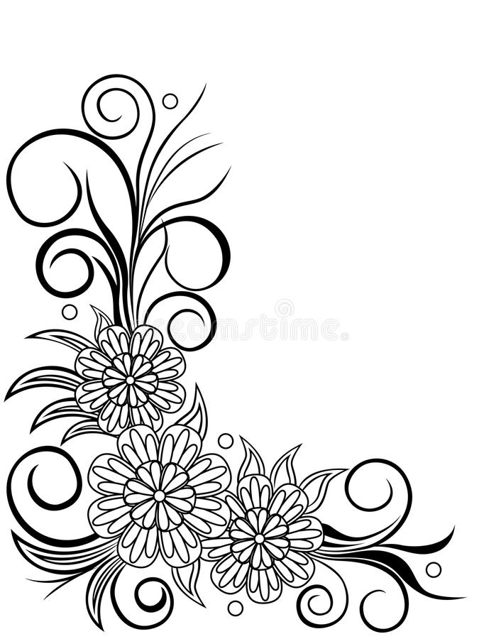 Blatt mit Blumeneckdesign stock abbildung