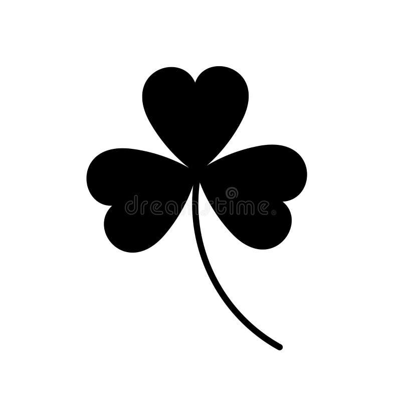 Blatt mit drei Klee Glücklicher Klee des schwarzen Schattenbildes lokalisiert auf weißem Hintergrund lizenzfreie abbildung
