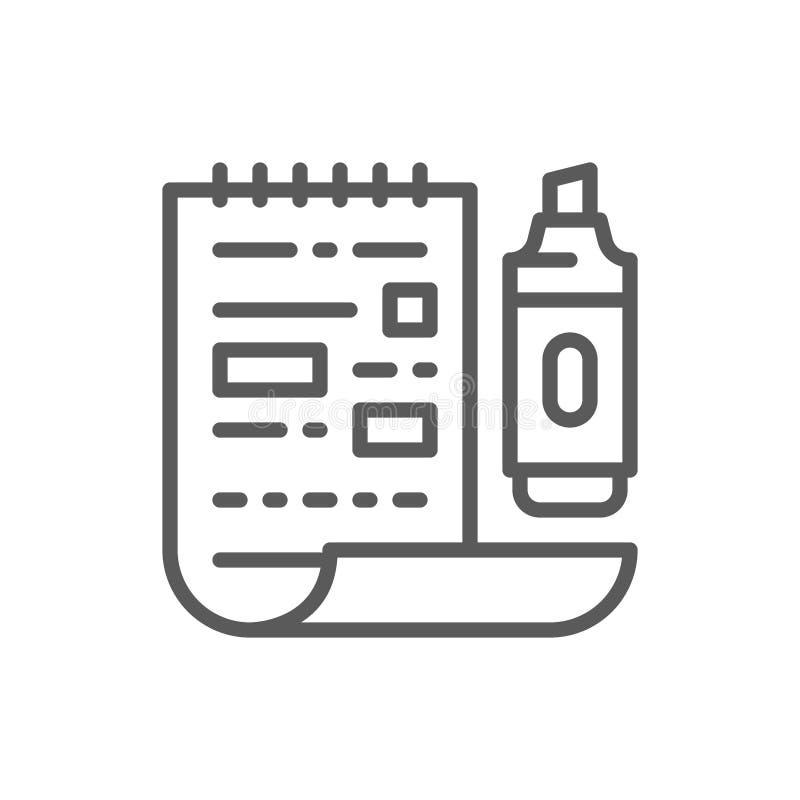 Blatt mit einer Markierung, unterstrich Wortlinie Ikone vektor abbildung