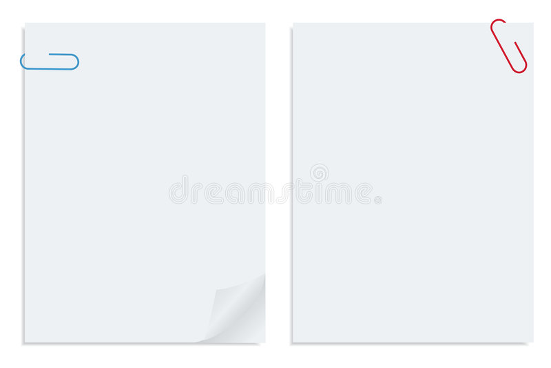 Blatt mit zwei Weiß der befestigten vektorpapiere vektor abbildung