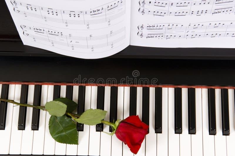 Blatt-Musik mit Rose auf Klavier stockfoto