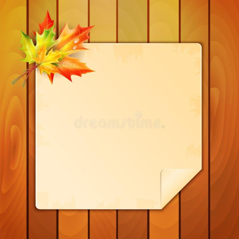 Blatt Papier verziert mit Herbstahornblättern stock abbildung