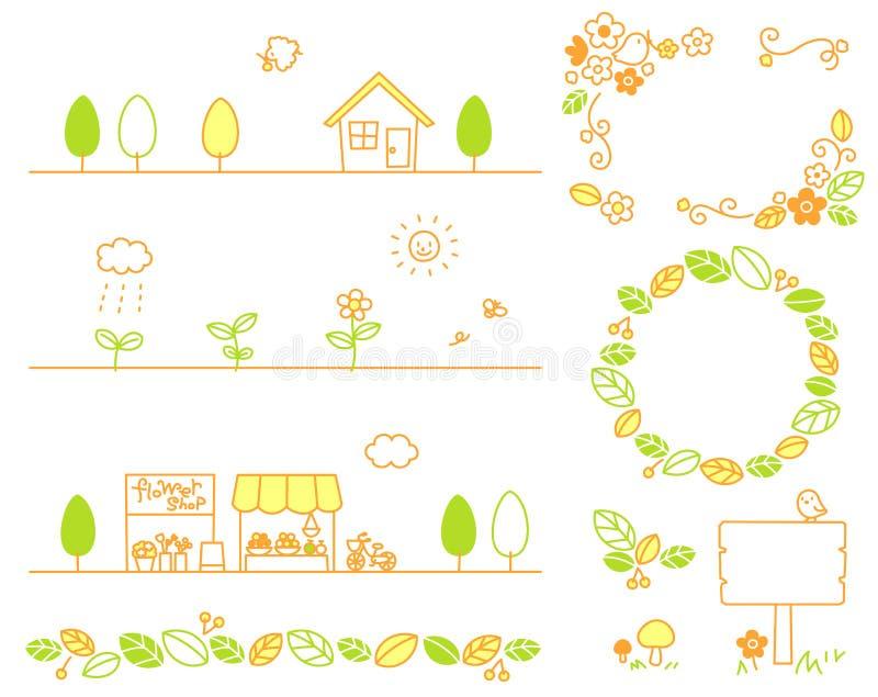 Blatt, Stadt, Blumen, Geschäfte, Holz, Ökologie lizenzfreie abbildung