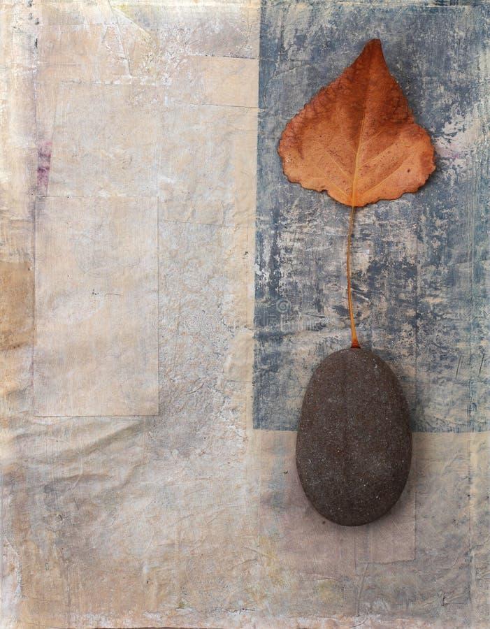 Blatt und Stein-Hintergrund stockbild