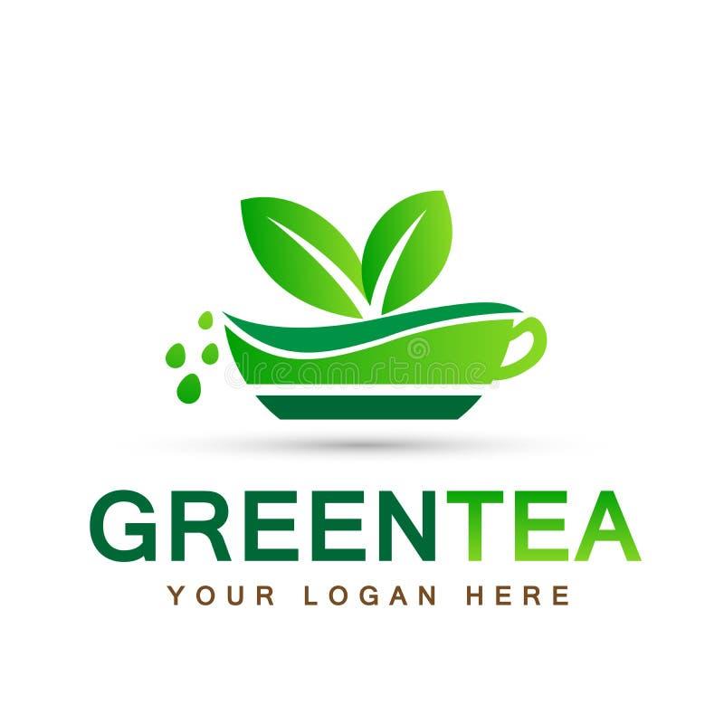 Blattbetriebslogoökologieleute Wellnessgrün lässt Natur Schalen-Symbolikonensatz des grünen Tees Vektordesigne auf weißem Hinterg lizenzfreie abbildung