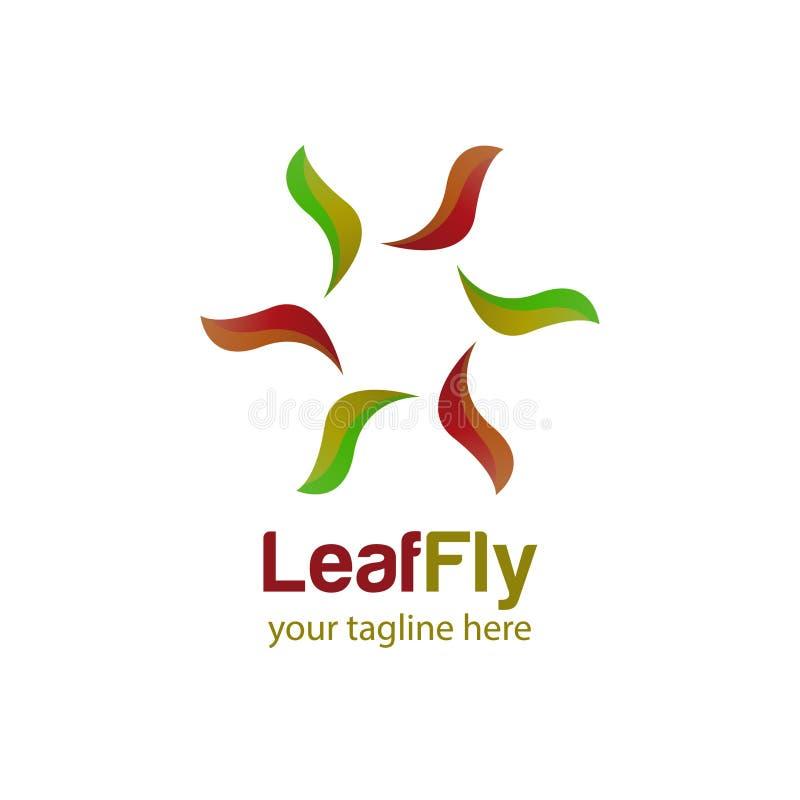 Blattfliegenlogo-Designschablone mit weißem Hintergrund vektor abbildung