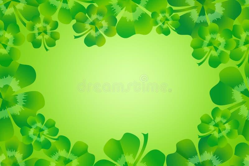 Blattklee-/-shamrockgrenzrahmenhintergrund des Grüns vier lizenzfreie abbildung