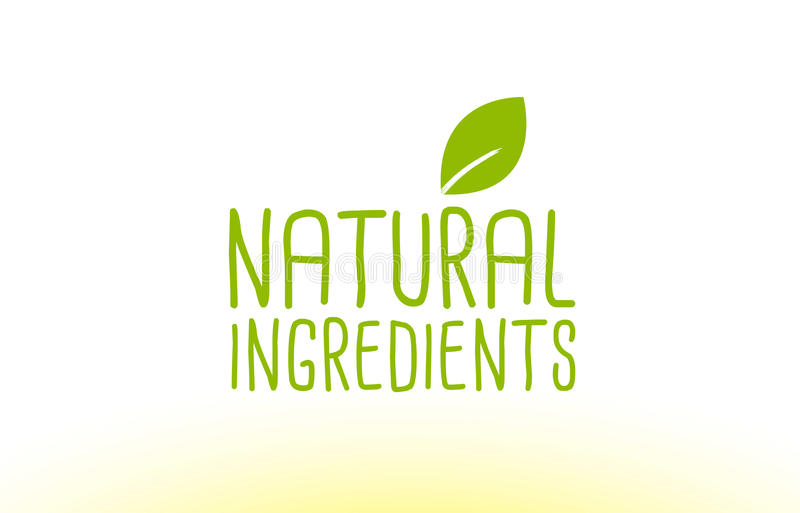 Blatttextkonzeptlogo-Ikonendesign der natürlichen Bestandteile grünes stock abbildung