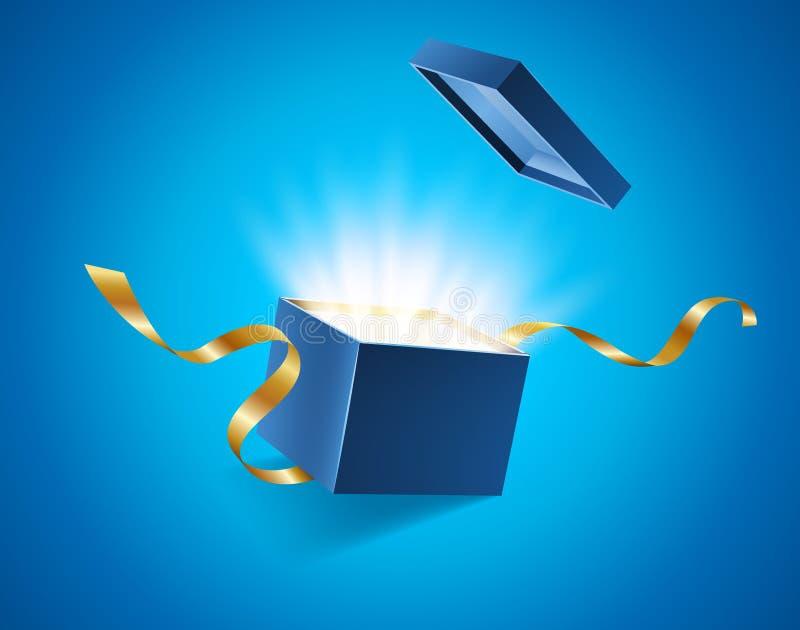 Blau öffnete realistische Geschenkbox 3d mit magischem glänzendem Glühen und goldenen den Bändern, die weg von der Abdeckung, Pla vektor abbildung