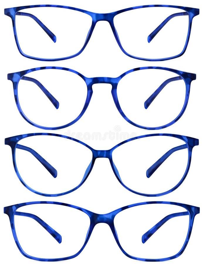 Blau beschmutzte Gläser lokalisiert auf Weiß lizenzfreie stockfotos