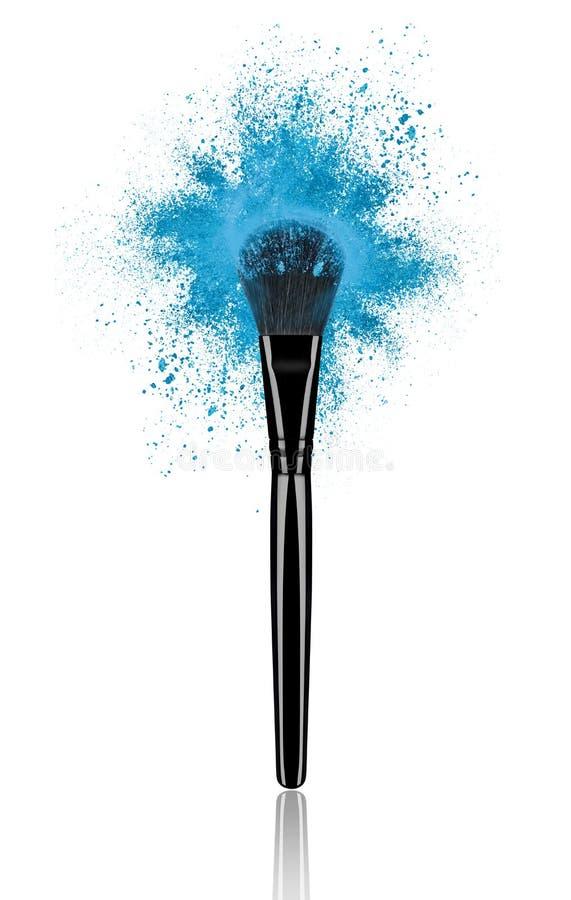 Blau bildet Bürste mit Pulverspritzennahaufnahme stockbilder
