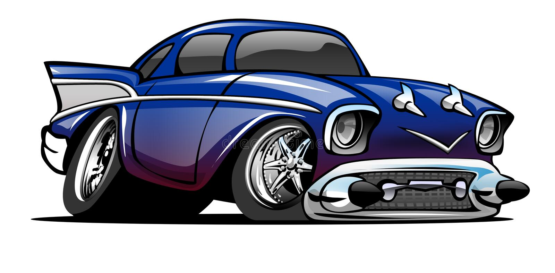 Blau 57 Chevy Cartoon Illustration lizenzfreies stockfoto