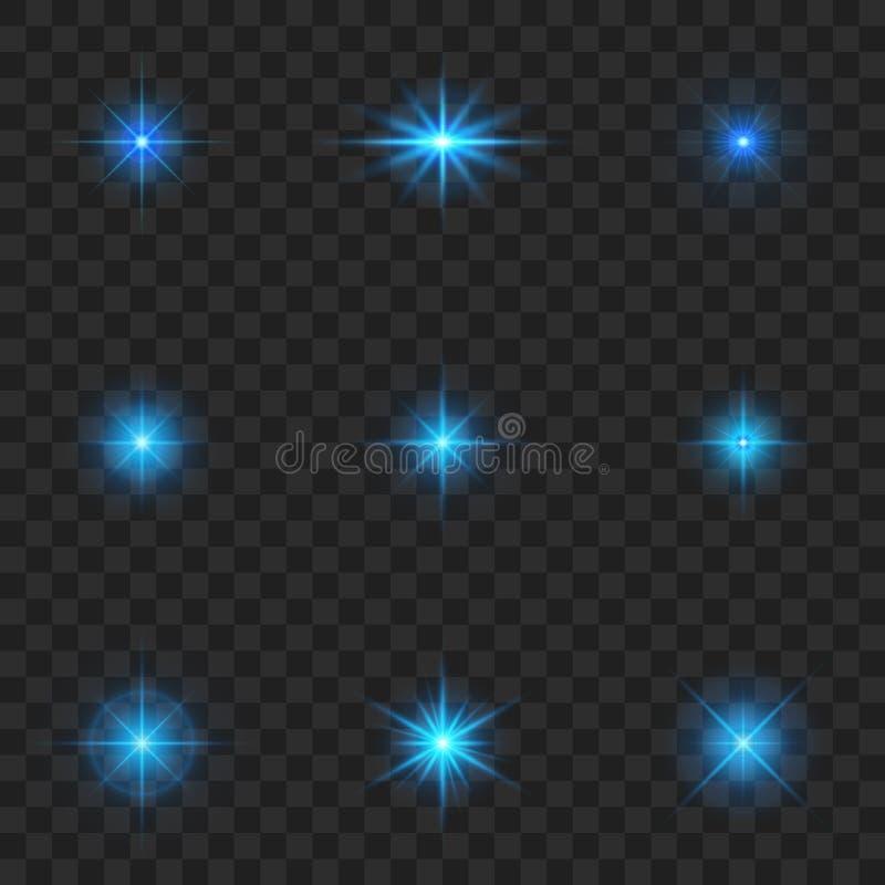 Blau des Glühens helle Farb Starburst mit Scheinen auf transparentem Hintergrund stock abbildung